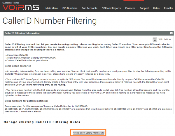 CallerID Filtering - VoIP ms Wiki